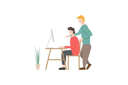People working at computer. Learning or advanced training concept. Flat design vector