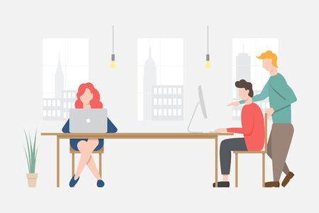 People working at office or working space. Teamwork. Flat design vector