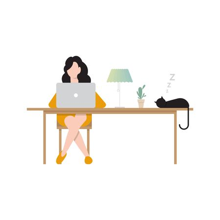 Woman sitting at desk and working at computer at home. Vector