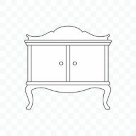 Antique cabinet. Old furniture icon isolated on white background Illustration