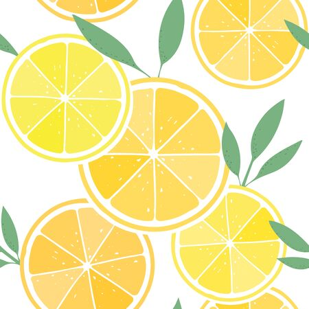 Fresh lemon, citrus fruit background with leaves, seamless pattern