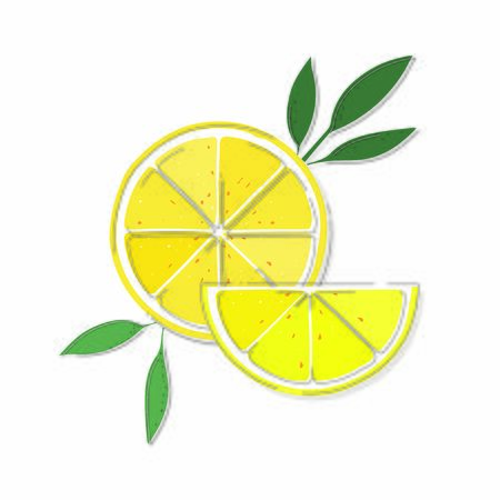 Lemon slices, line design. Isolated on white background.