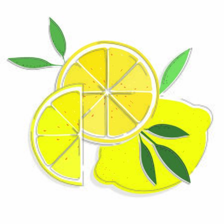 Lemon fruit with slices, line retro design.Isolated on white background. Vector Illustration