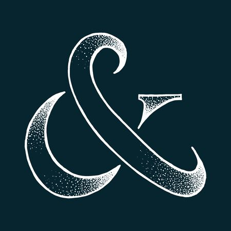 Ampersand vector illustration, EPS 10. Hand drawing with dots