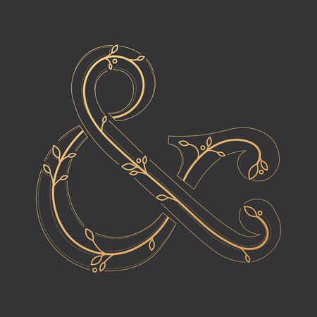 Modern gold ampersand icon. Vector illustration EPS 10