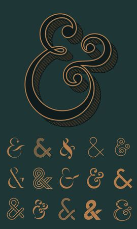 Ampersand, collection of different design icons and logos. Vector illustration Illustration