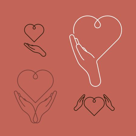 Healthcare icons. Hands holding heart. Line design, editable strokes. Vector illustration, EPS 10
