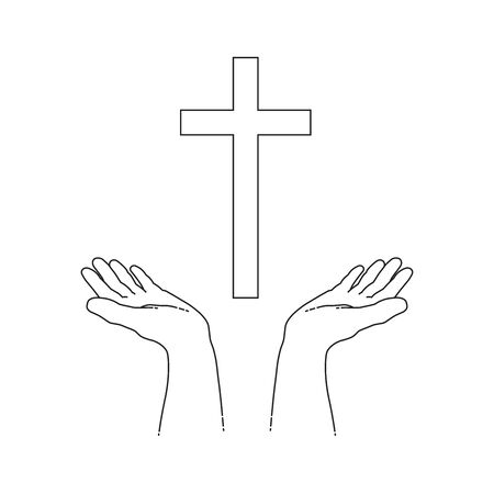 Praying open hands with cross isolated on white background. Line design, editable strokes. Vector illustration, Illustration
