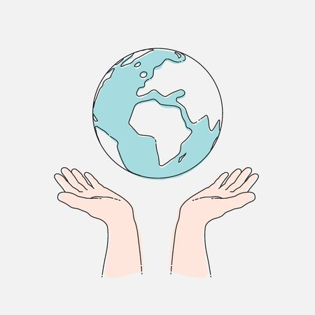 Human hands holding planet Earth, ecology concept. Hand draw vector illustration, EPS 10
