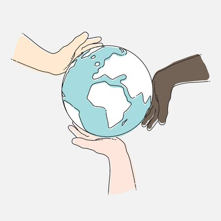 Human hands holding planet Earth. Togetherness concept. Vector illustration, EPS 10