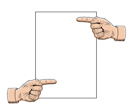 Vintage pointing hands with blank space. Copy space for your design. Vector illustration isolated on white background Illustration