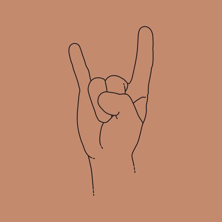 Rock n roll sign, human hand. Line design, editable strokes. Vector illustration 矢量图像