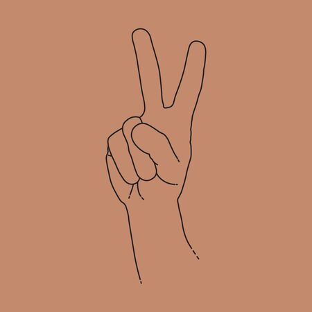 Human hand with victory or peace sign. Line design, editable strokes. Vector illustration EPS 10 矢量图像