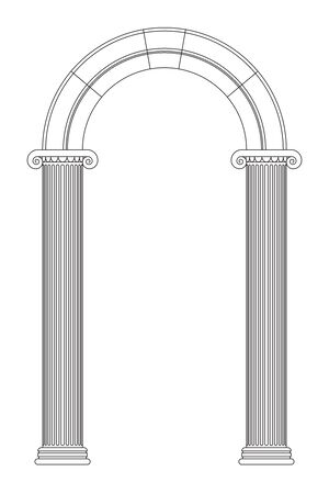 Antique ionic columns with arc. Line design, editable strokes. Vector illustration isolated on white background 矢量图像