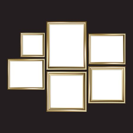 Set of gold picture frames. Rectangle and square. Vector illustration, EPS 10
