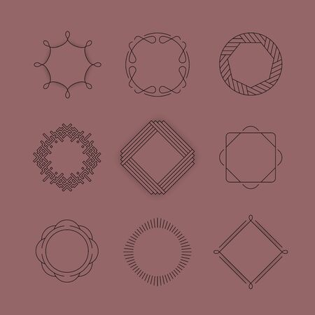 Set of badges and labels elements. Logos and monograms. Modern geometric design, line design. Vector illustration