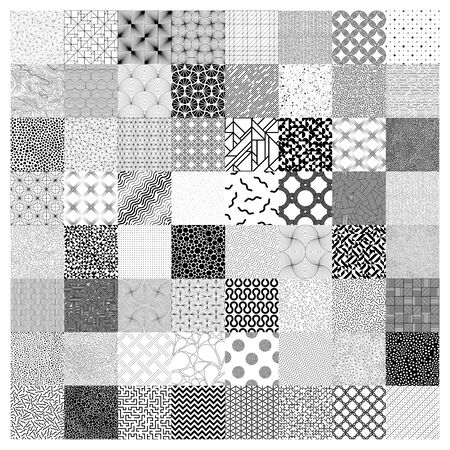 Square made from dots. Set of different design elements. Black and white, Vector illustration Illustration