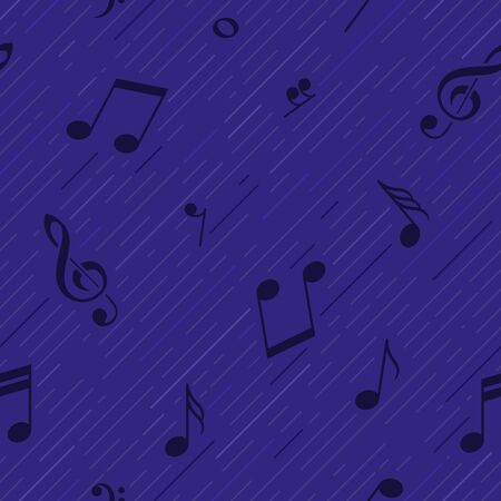 Blue music background with strips. Note, G clef. Seamless pattern. Vector illustration