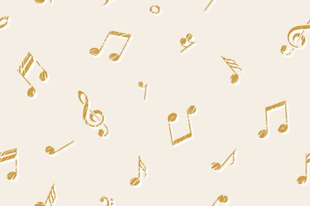 Melody background with music symbols. Seamless pattern. Note, G clef. Vector illustration