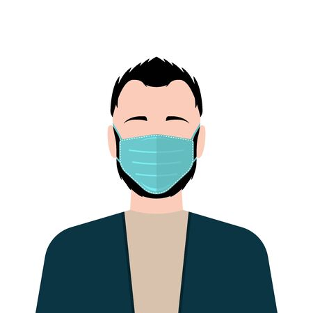 Man wearing medical protective mask. Vector illustration Illustration