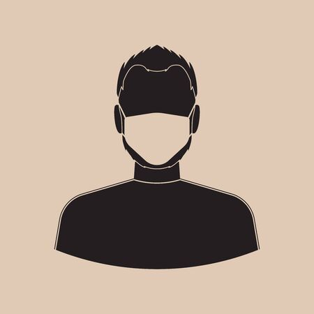 Man with protective mask, icon. Virus concept. Vector illustration EPS 10