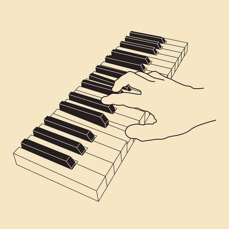 Hand playing on piano keyboard. Learning music concept. Vector illustration, EPS 10
