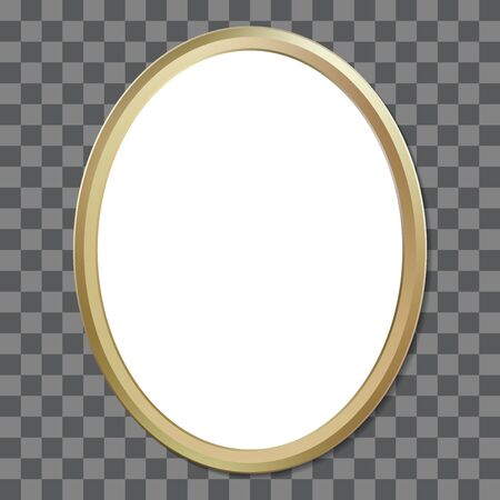 Oval golden picture frame. Vector illustration isolated on transparent background Illustration