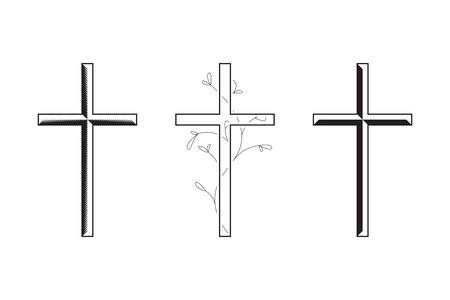 Cross icon collection. Simple funeral design, black and white. Vector illustration isolated on white background