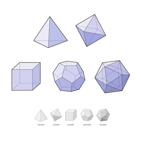 Platonic solids. Tetrahedron, cube, dodecahedron, hexahedron. Vector illustration isolated on white background