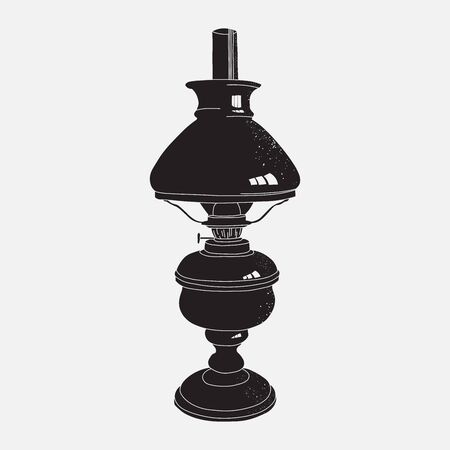 Antique oil lamp, silhouette. Vector illustration EPS 10