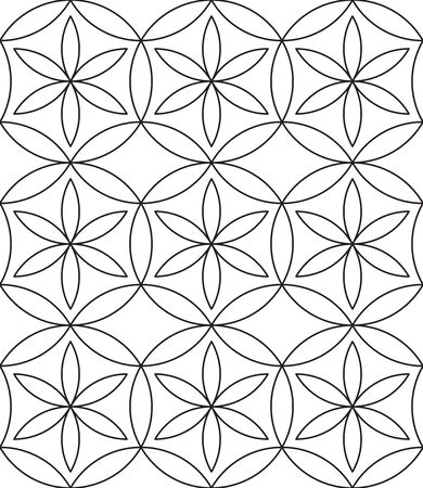 Flower of life background. Seamless pattern. Black and white. Vector illustration