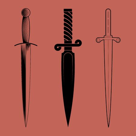 Dagger icon collection. Silhouette and line design. Vector illustration