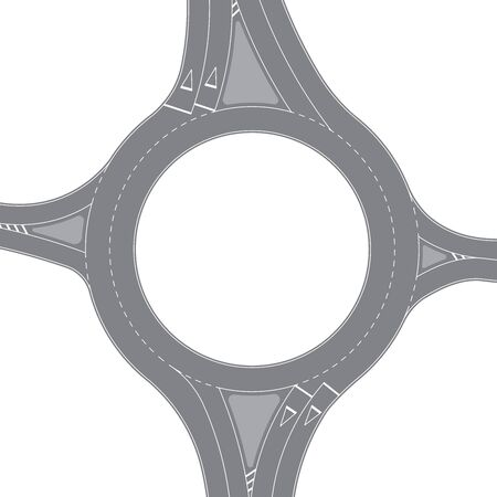 Roundabout, top view. Vector illustration isolated on white background