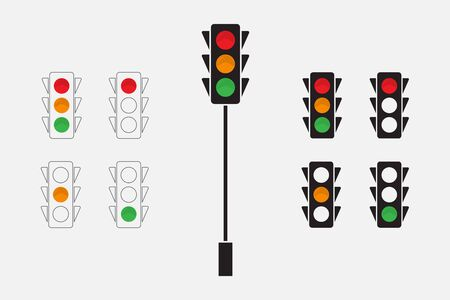 Traffic lights, line design and silhouette icon. Vector illustration EPS 10