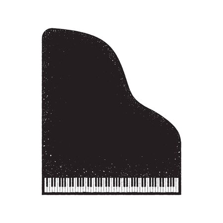 Grand piano icon, grunge design. Top view, vector illustration isolated on white background