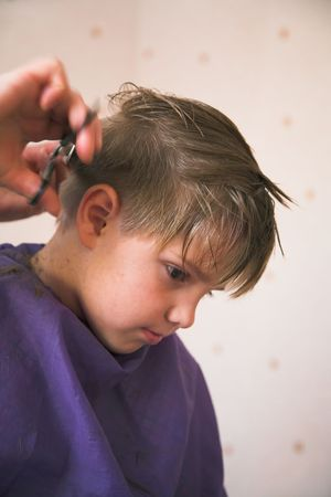 haircutting young boy in the hairdressing saloon photo