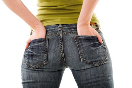 girl ass: girl in jeans isolated on the white