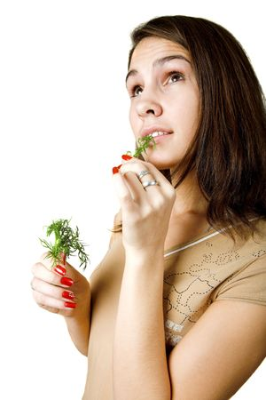 careless: young girl with dill dreaming about meat