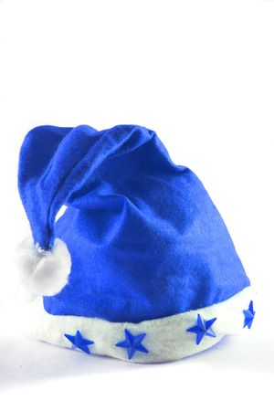 blue holiday hat isolated on white with plenty of copy space photo