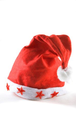 red holiday hat isolated on white with plenty of copy space Stock Photo - 3517267