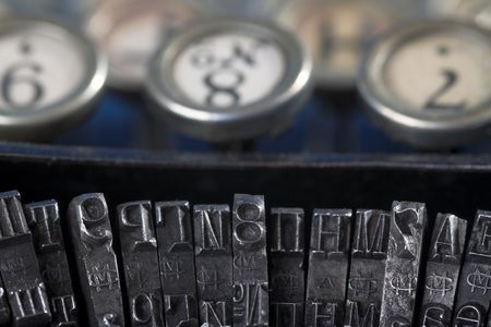 keys and letter of old typewriter close-up photo
