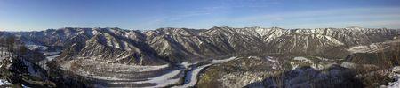 glen: winter day in the mountain region. Panorama