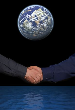 beetwen: handclasp. two mens hands beetwen blue ocean and globe isolated on black background Stock Photo