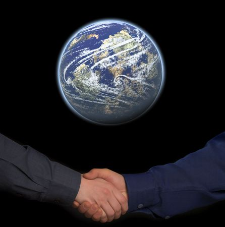 handclasp. two mens hands under blue planet isolated on black background Stock Photo - 3519766