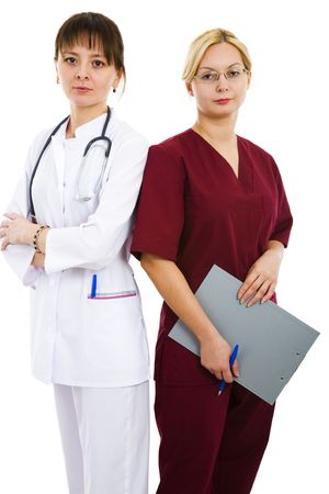 Two beautiful doctors on white isolated background Stock Photo - 3671077