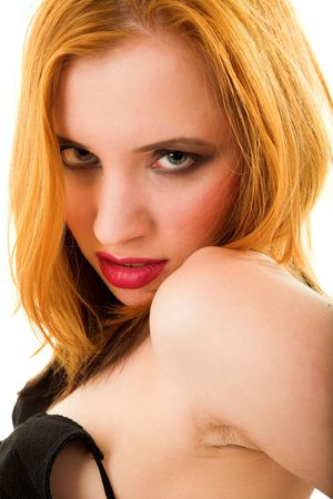 libertine: Young sexy girl on white isolated background