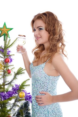 Beautiful elegant girl with glass of champagne photo