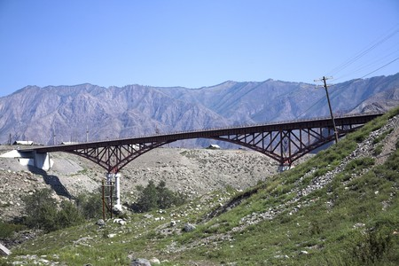 altay: Altay summer landscape with old rust bridge