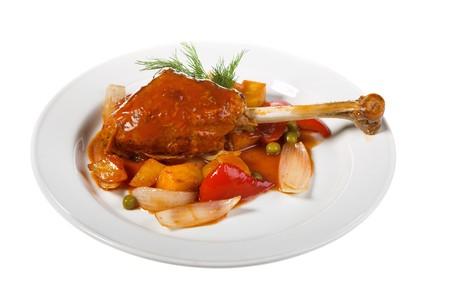 turkey hen: pava con patatas en el plato blanco Foto de archivo