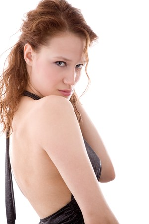 decolette: Young beautiful coquette posing archly and sexy